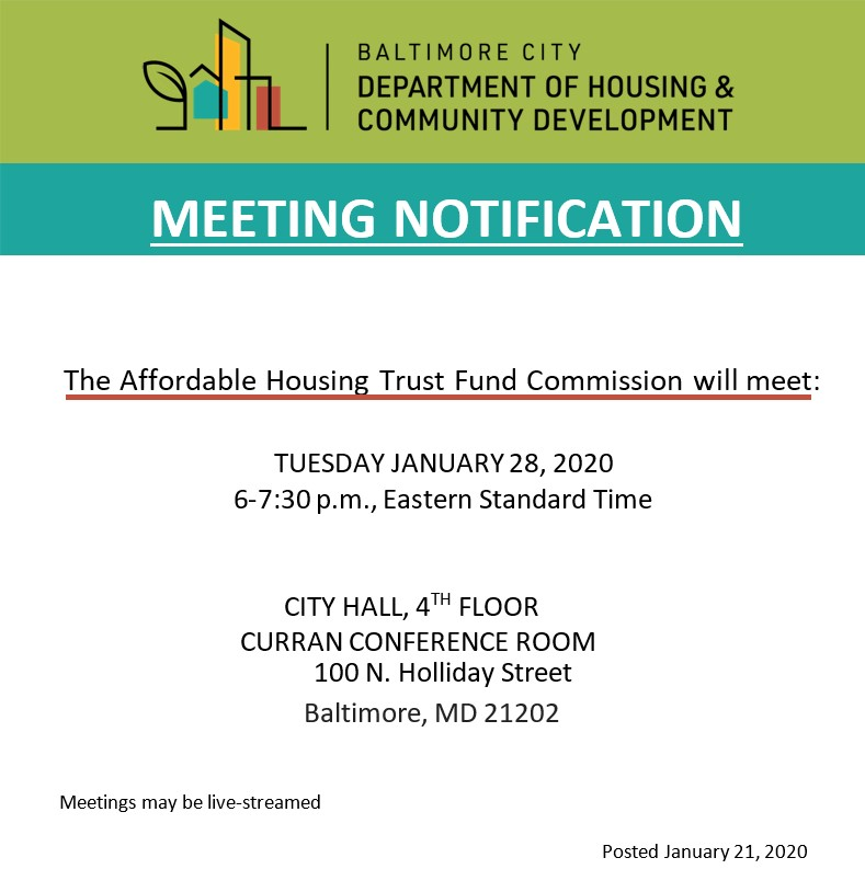 Affordable Housing Trust Fund Commission Notice-January 2020-English