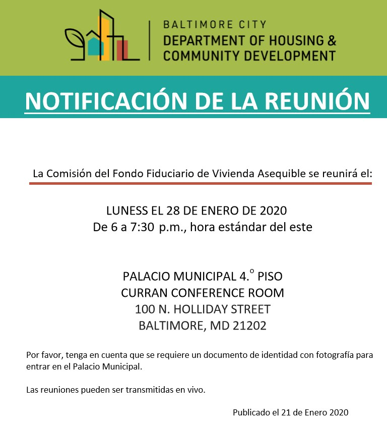 Affordable Housing Trust Fund Commission Notice-January 2020-Spanish