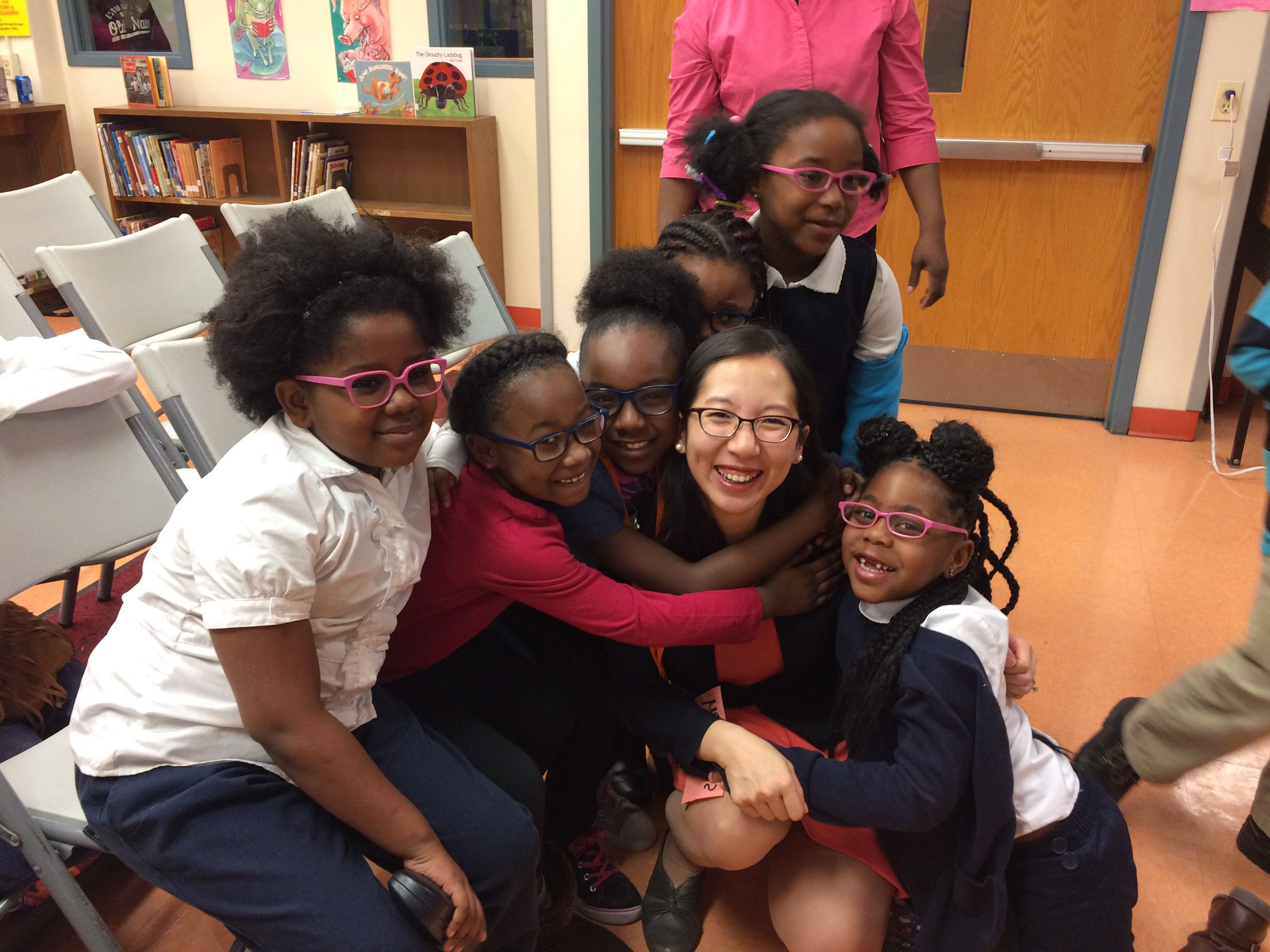 Health Commissioner Dr. Leana Wen with V4B students at Dr. Bernard Harris, Sr. Elementary