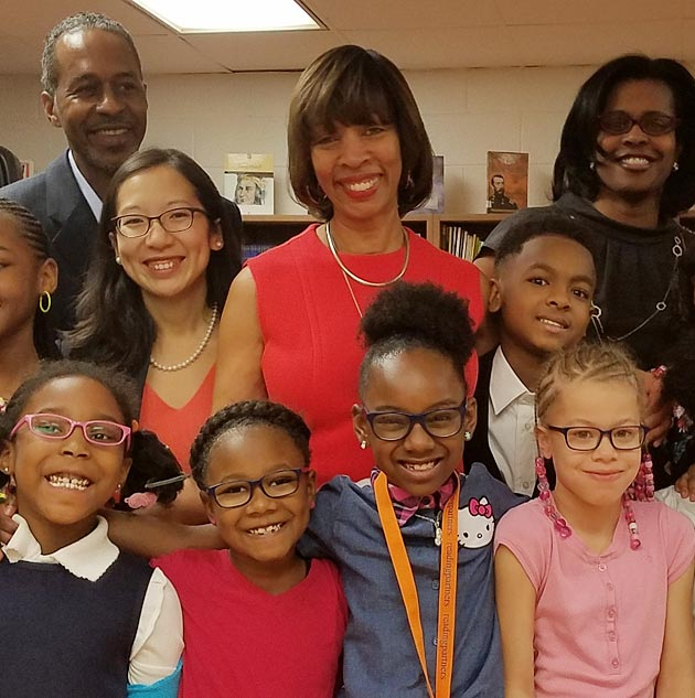 Mayor Catherine Pugh, Councilman Robert Stokes, City Schools CEO Dr. Sonja Santelises, and Health Commissioner Dr. Leana Wen celebrate V4B's 1000th pair of glasses