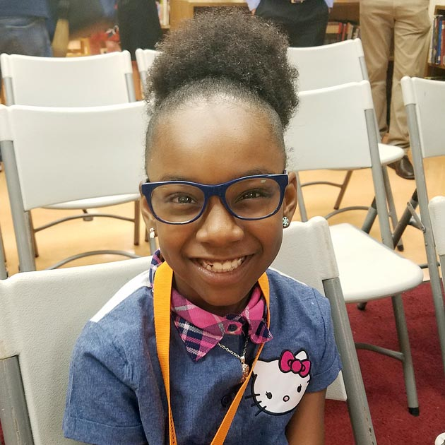 A student with new glasses